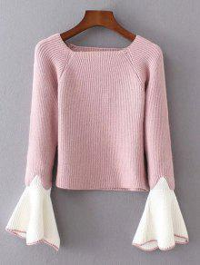 Bell Sleeve Contrasting Jumper - Pink