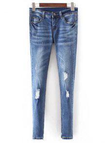 Buy Bleach Wash Skinny Ripped Jeans - BLUE XL