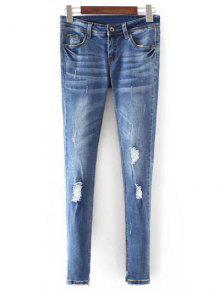 Bleach Wash Skinny Ripped Jeans - Blue L