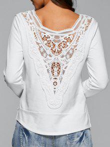 T-shirt Blanc Aux Manches Longues De Lace - Blanc L