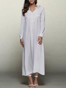 فستان محبوك التريم ماكسي متدفق - أبيض L