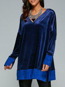 Contraste Hem Side Robe Fendue En Velours - Bleu Saphir M