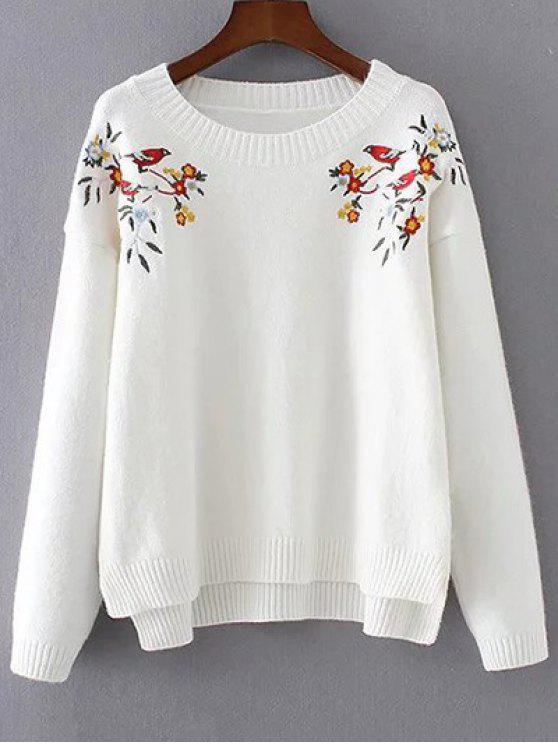 online Embroidered High-Low Sweater - WHITE ONE SIZE
