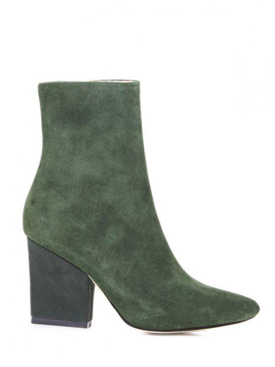 women Side Zip Pointed Toe Chunky Heel Short Boots - GREEN 38