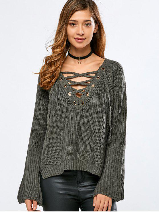 chic High Low V Neck Lace Up Sweater - BLACKISH GREEN ONE SIZE
