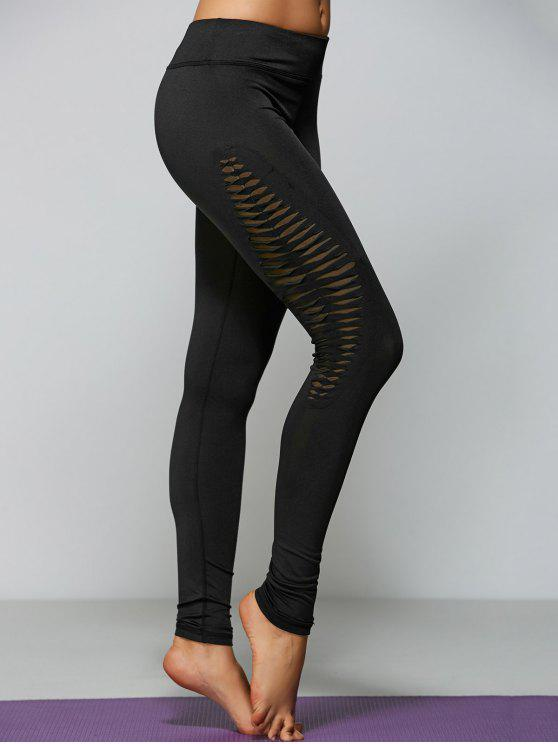 shop Ripped Tight Fit Sports Leggings - BLACK S