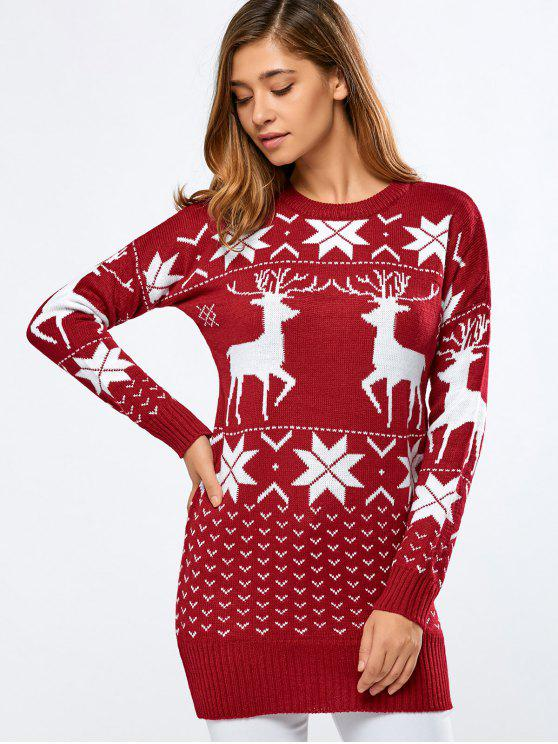 online Long Printed Sweater - RED ONE SIZE