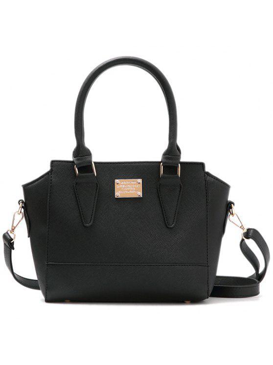 حقيبة توتس بجلد اصطناعي معدنية سحاب - أسود