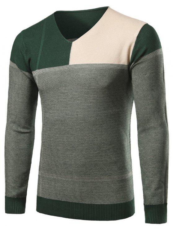 Maglione Con Scollo A V E Design A Blocchi Di Colori - Verde L