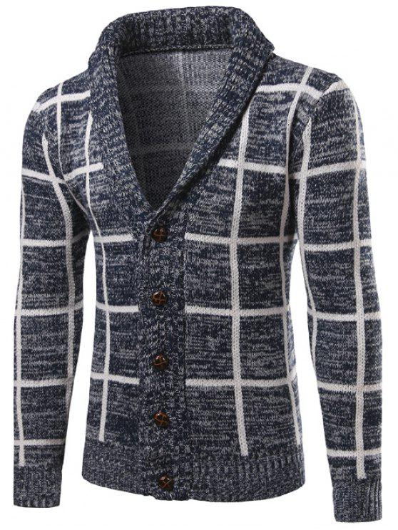 Shawl Collar Button Up Checked Cardigan - Cadetblue M