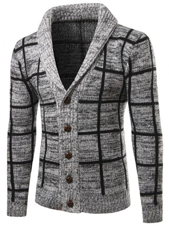 Schal Kragen Button Up Checked Cardigan - Grau 2XL