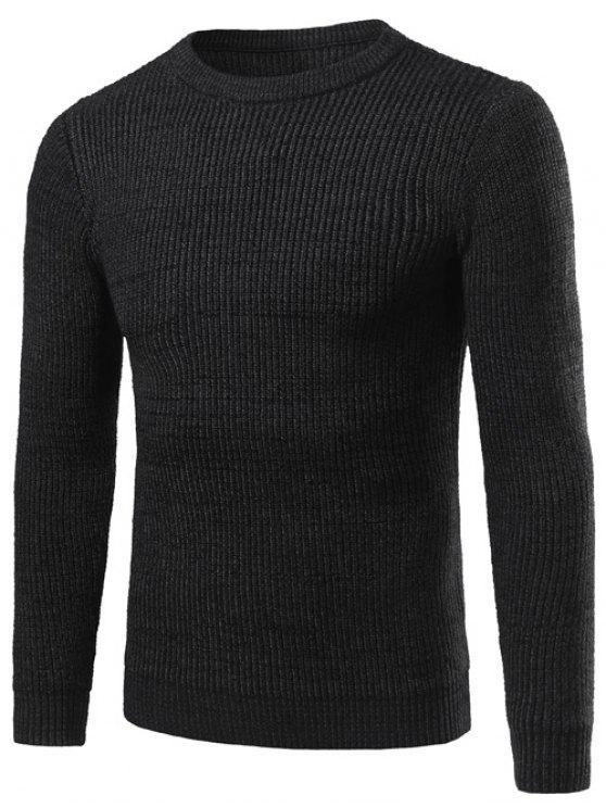Girocollo banda verticale maglieria maglia a manica lunga - Nero XL