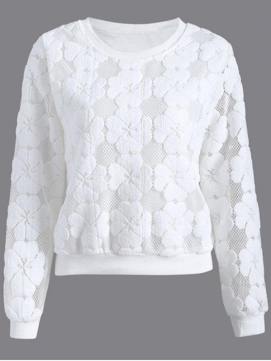 trendy Flocked Mesh Sweatshirt - WHITE M