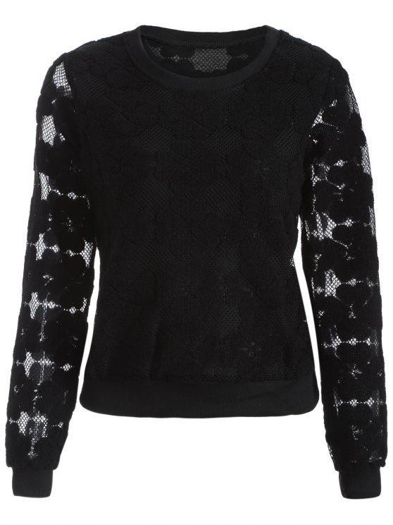 fashion Flocked Mesh Sweatshirt - BLACK XL