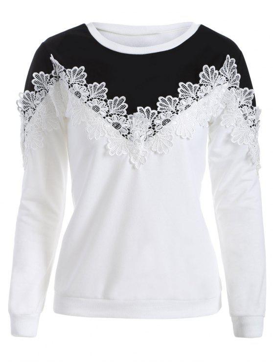 buy Chevron Panel Sweatshirt - WHITE AND BLACK M