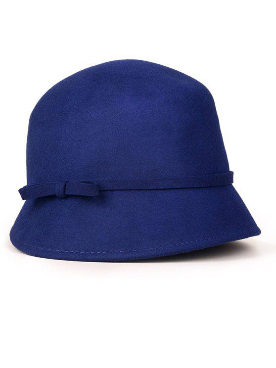 unique Small Bowknot Lace-Up Cloche Hat - SAPPHIRE BLUE