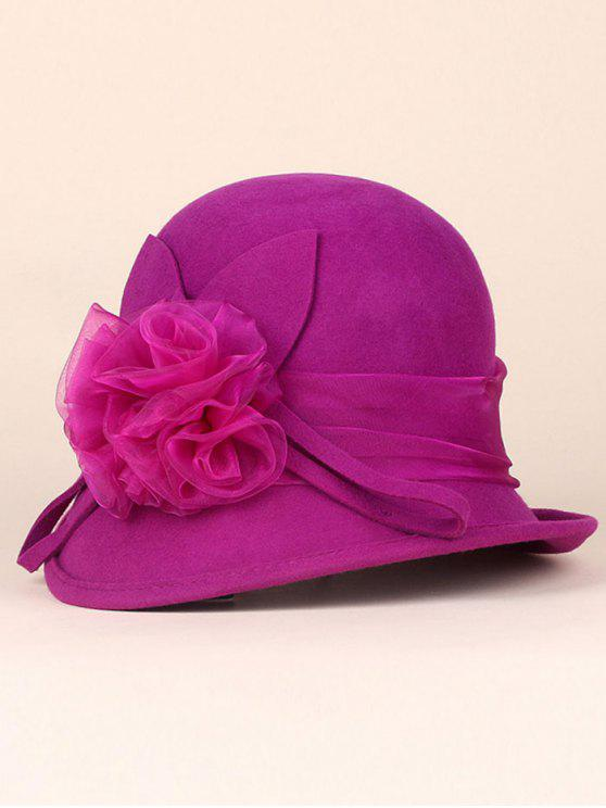 ladies Lace Flower Band Cloche Hat - ROSE RED