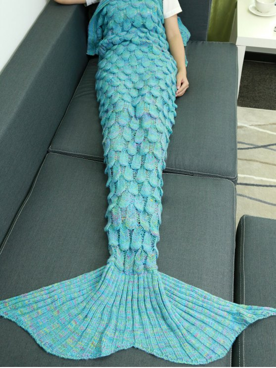 lady Fish Scale Knit Mermaid Throw Blanket - LAKE BLUE