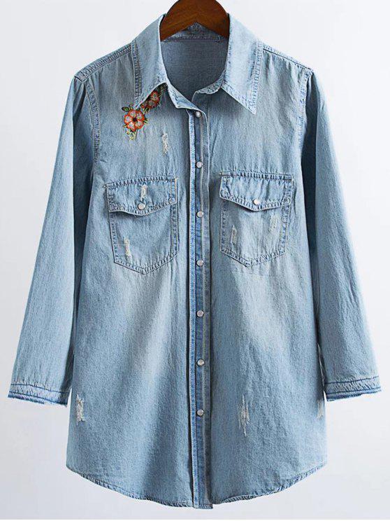 womens Ripped Embroidered Denim Shirt - LIGHT BLUE M