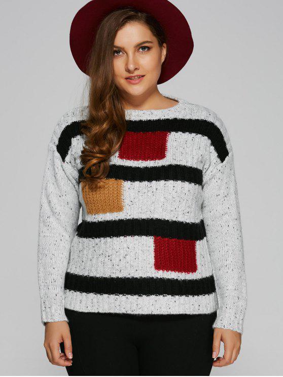 Color Block Plus Size Pullover Maglione - Bianca Una Taglia