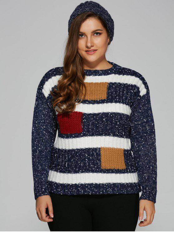 Color Block Plus Size Pullover Maglione - Blu Scuro Una Taglia