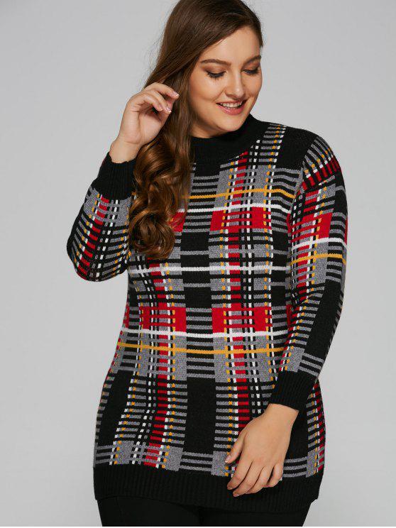 tartán del suéter - Negro Única Talla