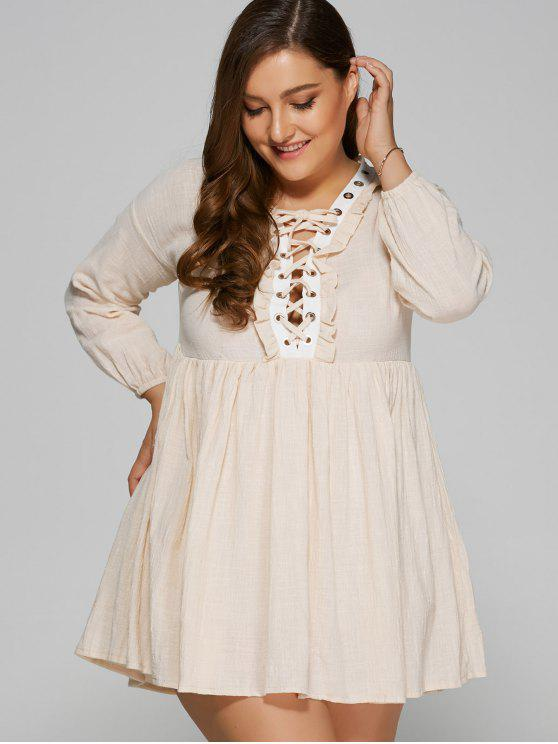 2c64a2d11db 31% OFF  2019 Lace Up Plus Size Smock Dress In APRICOT