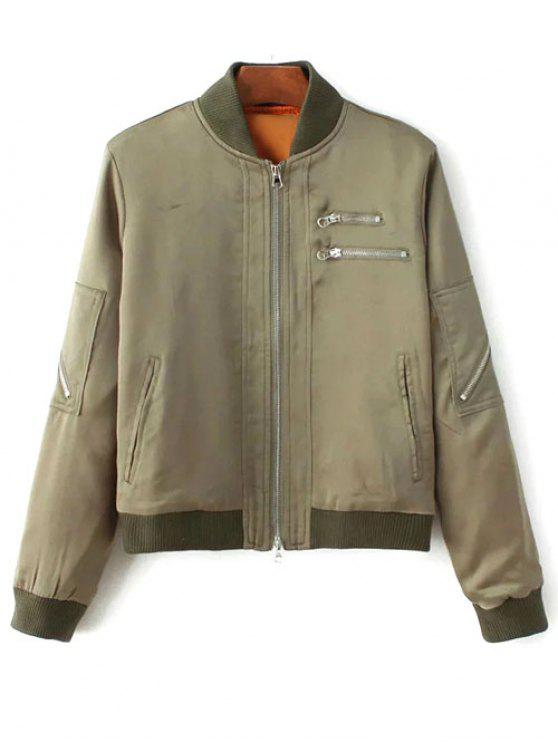new Multiple Zippers Bomber Jacket - ARMY GREEN S