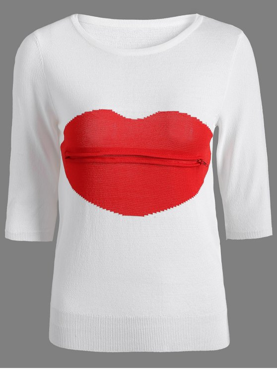 latest Lips Patch Jewel Neck Knitwear - WHITE ONE SIZE