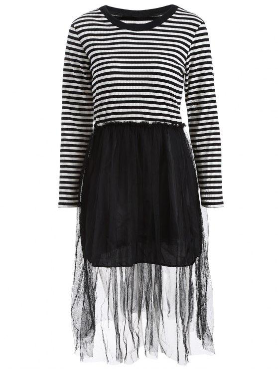 Robe en tricot rayé en maille style faux twinset - Noir 3XL