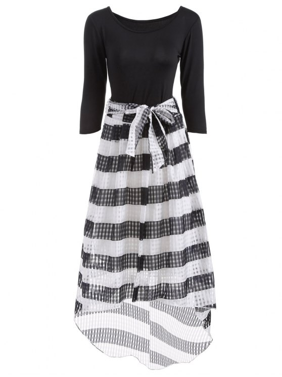 outfits Scoop Neck T-Shirt With Striped Skirt - WHITE AND BLACK M