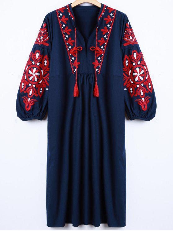 Vestido de la manga de la linterna bordado retro - Cadetblue L