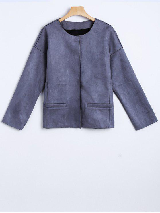 online Wool Blend Cropped Jacket - DEEP GRAY M