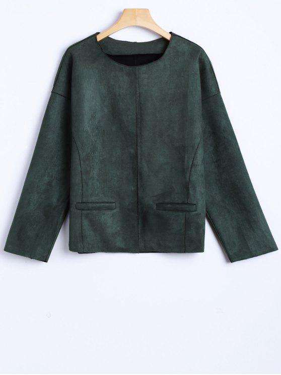 shop Wool Blend Cropped Jacket - ARMY GREEN M