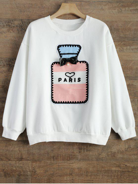 women's Perfume Bottle Patch Fleece Sweatshirt - WHITE S