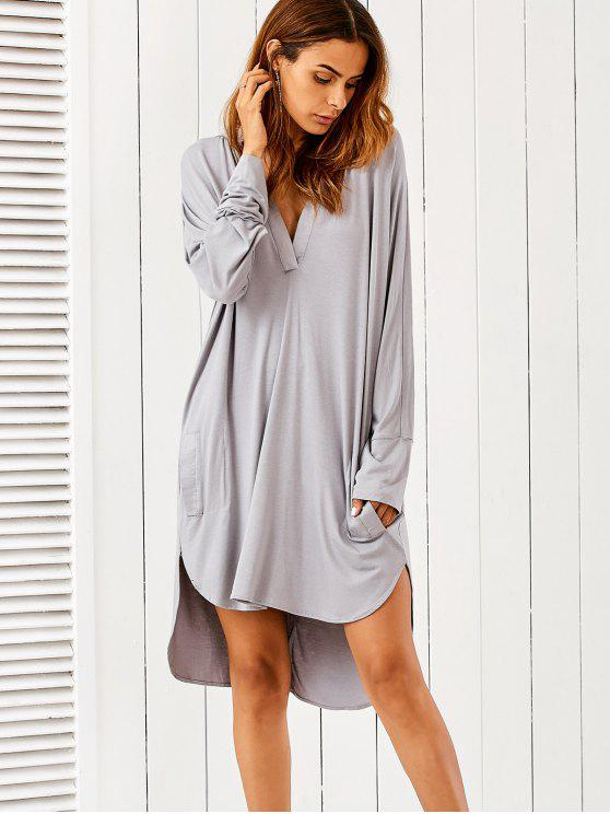 trendy High Low Plunging Neck Dress - GRAY M
