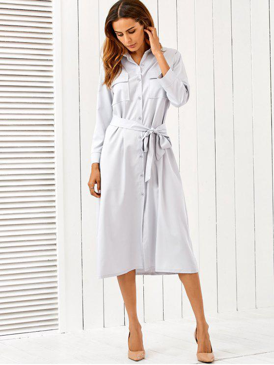 outfit Belt Midi Shirt Dress - LIGHT GRAY S