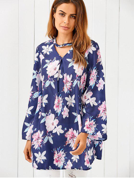shop Floral Print Loose Dress - BLUE M