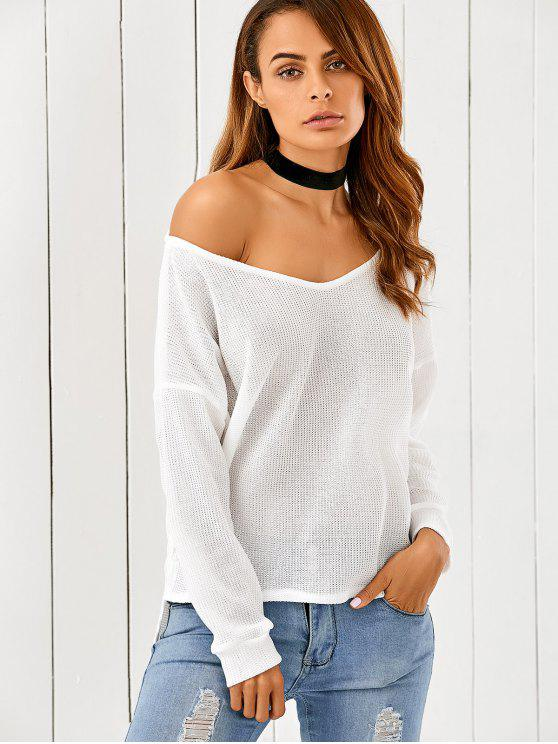 c42a1f60bdfae 21% OFF  2019 Loose One-Shoulder Sweater In WHITE