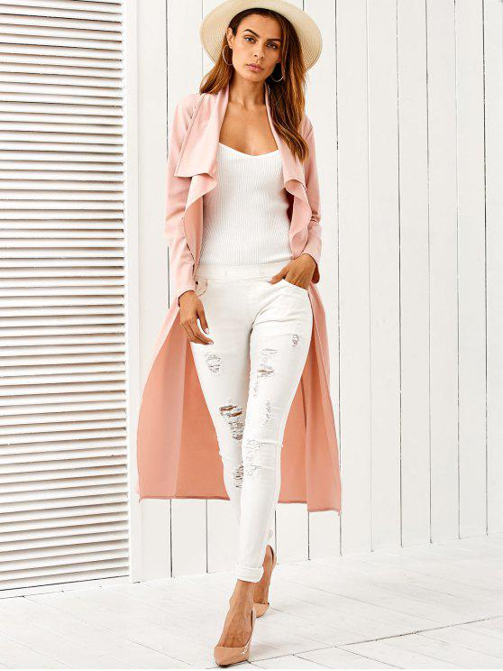 affordable Belted Shawl Collar Trench Coat - PINK XL