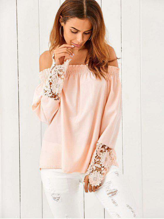 affordable Off The Shoulder Loose Blouse - NUDE PINK XL