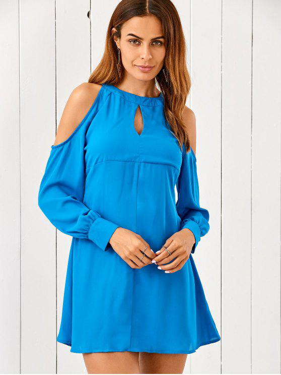 Ausschnitt Kaltes Schulter Chiffon Kleid - Blau S