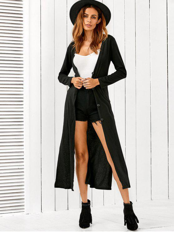 chic Long Fitting Buttoned Cardigan - BLACK S