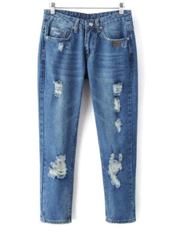 best Skinny Ripped Narrow Feet Jeans - DENIM BLUE L