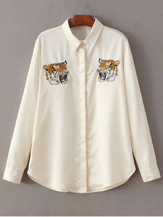 chic Tiger Embroidered Shirt - OFF-WHITE M