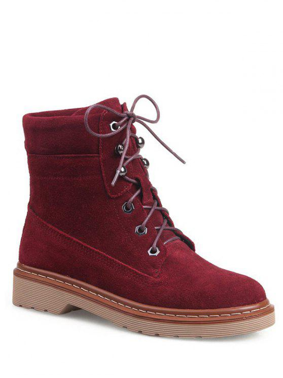 women Eyelet Lace-Up Combat Boots - RED 39