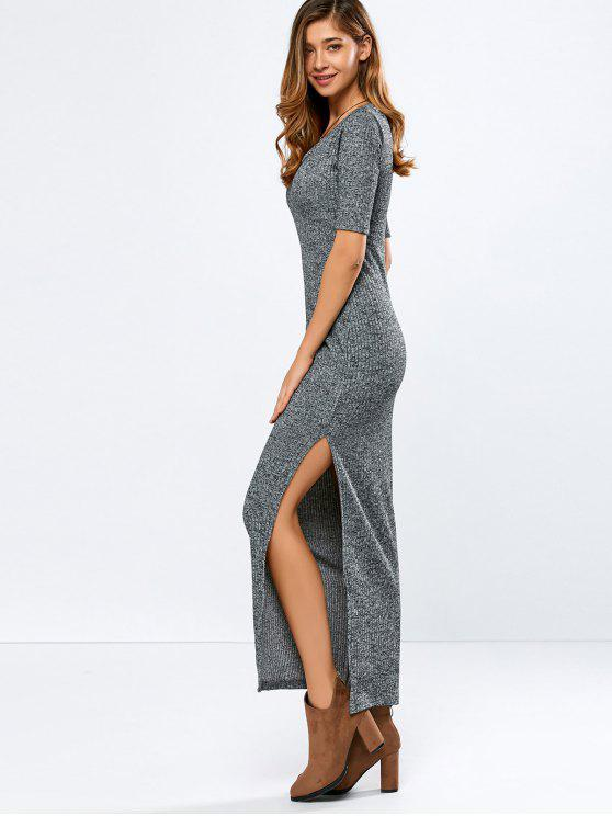 trendy Ribbed Long Dress - GRAY L