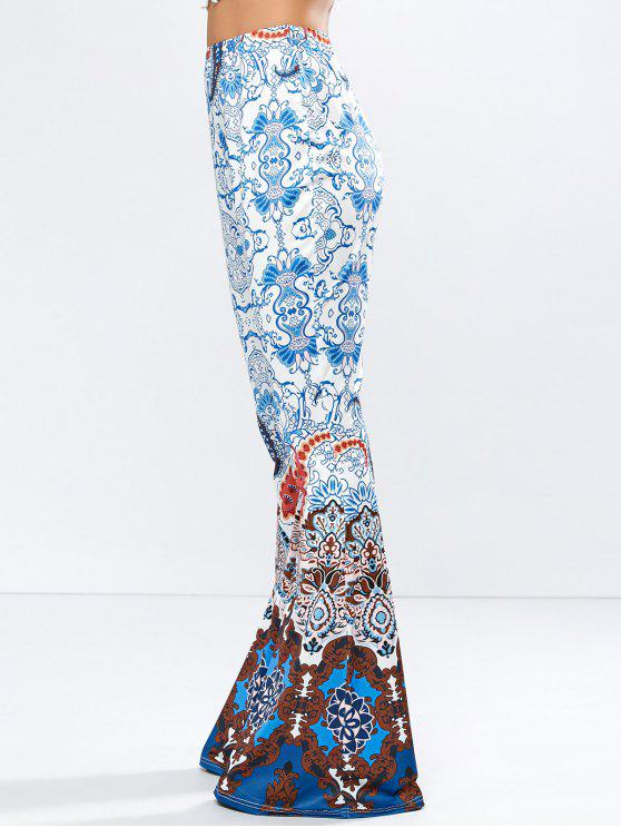 buy High Rise Printed Flare Pants - BLUE M