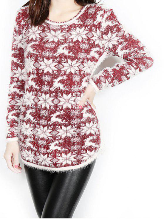 affordable Jacquard Christmas Sweater - WINE RED ONE SIZE