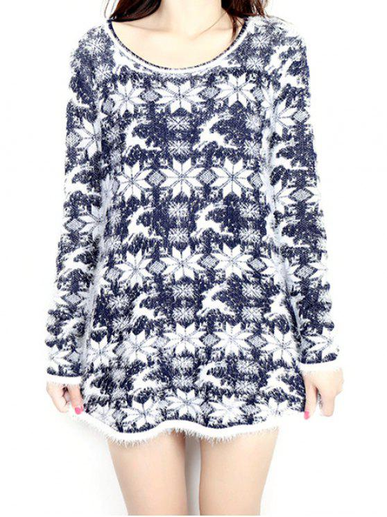 buy Jacquard Christmas Sweater - PURPLISH BLUE ONE SIZE